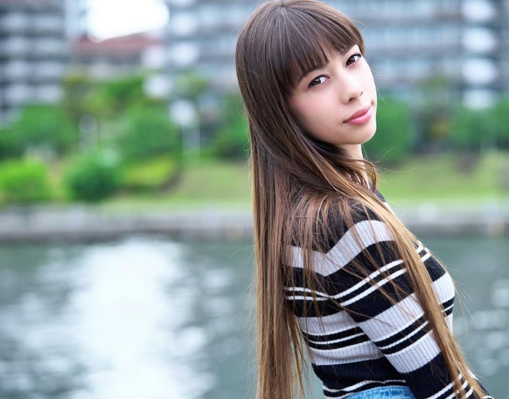 Long hair with straight framing bangs