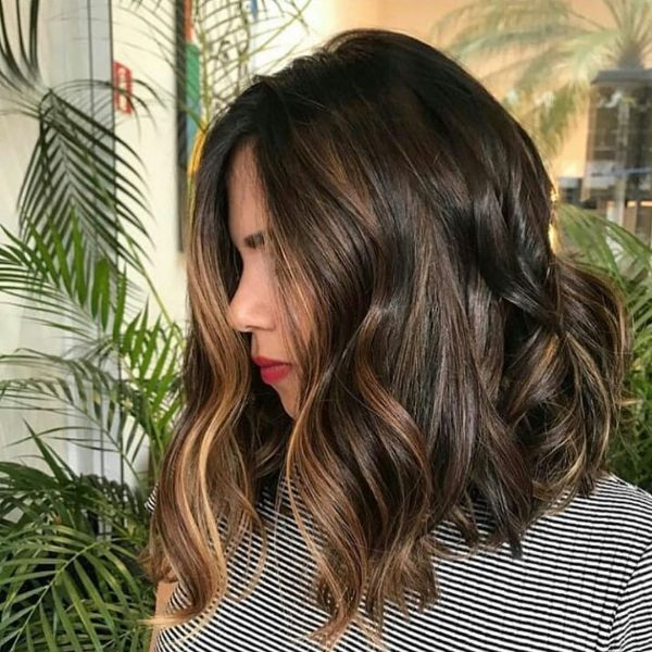 Luscious Balayage Long Bob for Brown Wavy Hair
