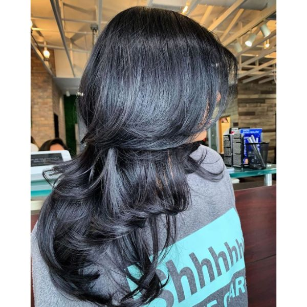 Luscious Horizontal Layers for Long Black Hair