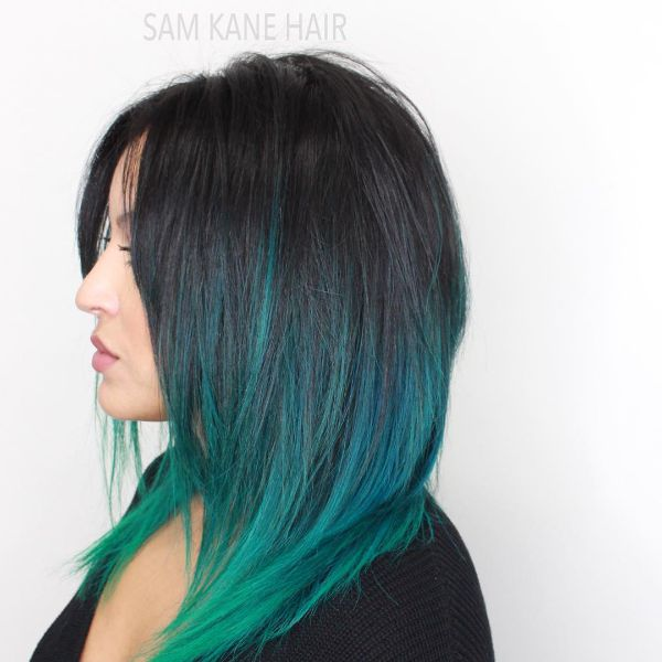 Mermaid Green Ombre for Layered Straight Hair