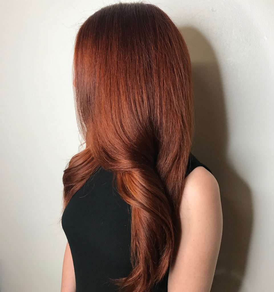 Mermaid-like Copper Highlights for Straight Long Hair