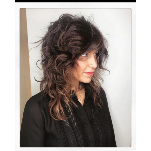 Messy Curly Layered Cut with Curtain Bangs