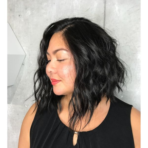 Messy Wavy Dark Brunette Long Bob with thin Curls Hairstyle