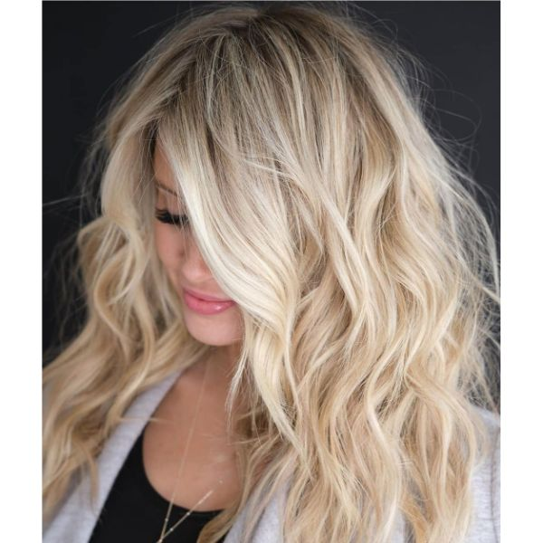 Messy Wavy Short Layers for Long Blonde Hair