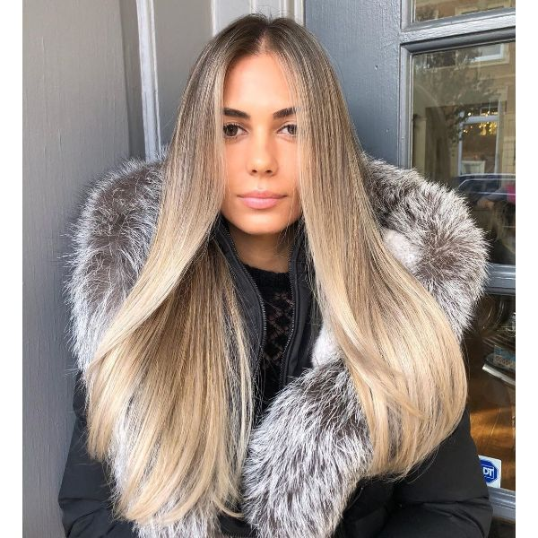 Middle Part Long Blonde Hair with Long Layers