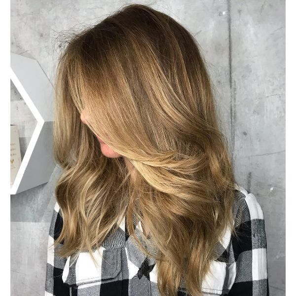 Past Shoulder Feathered Layers for Straight Hair