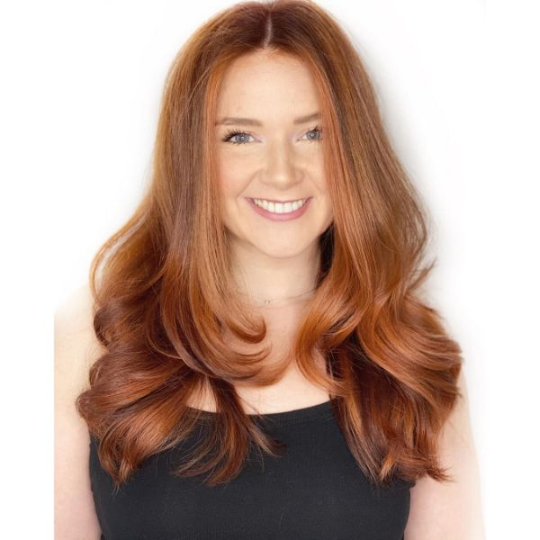 Past Shoulders Layers for Ginger Wavy Hair