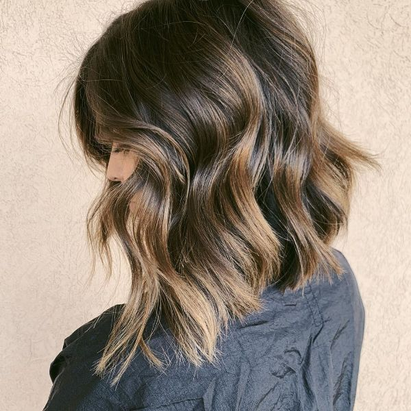 Peanut Brown Balayage Lob with Chunky Bangs