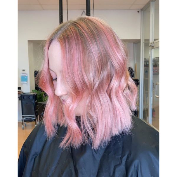 Pink Balayage Long Bob for Wavy Hair with Center Part