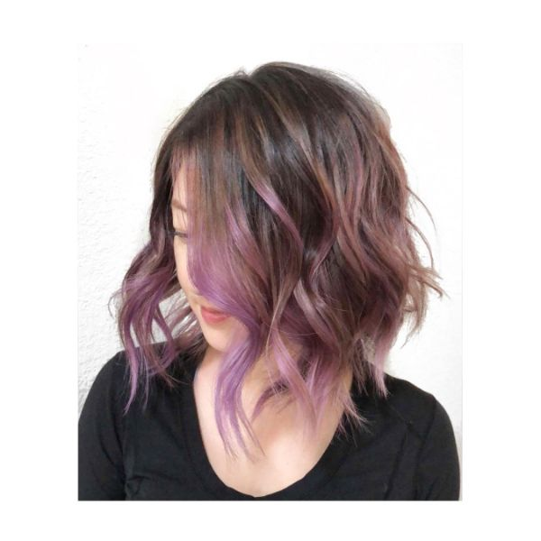 Pink Balayage Wavy Long Bob Haircut