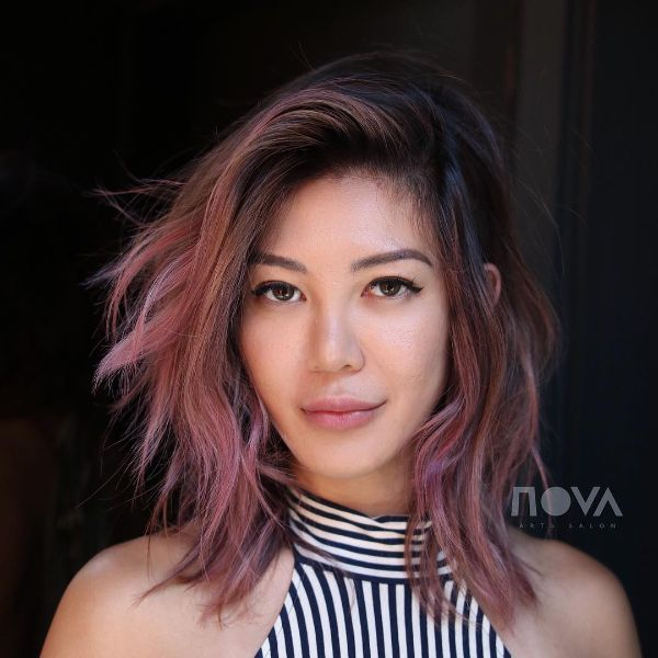 Pink Balayage with Side Part Lob Cut for Wavy Hair