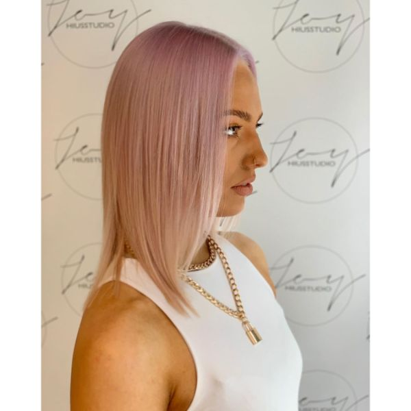 Pink Blonde Long Straight Bob Haircut