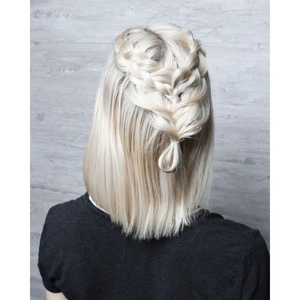 Platinum Blonde Lob with Back Braid