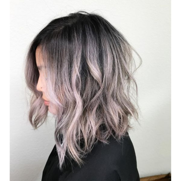 Playful Wavy Long Bob with Delicate Fringe for  Pink Blonde Balayage