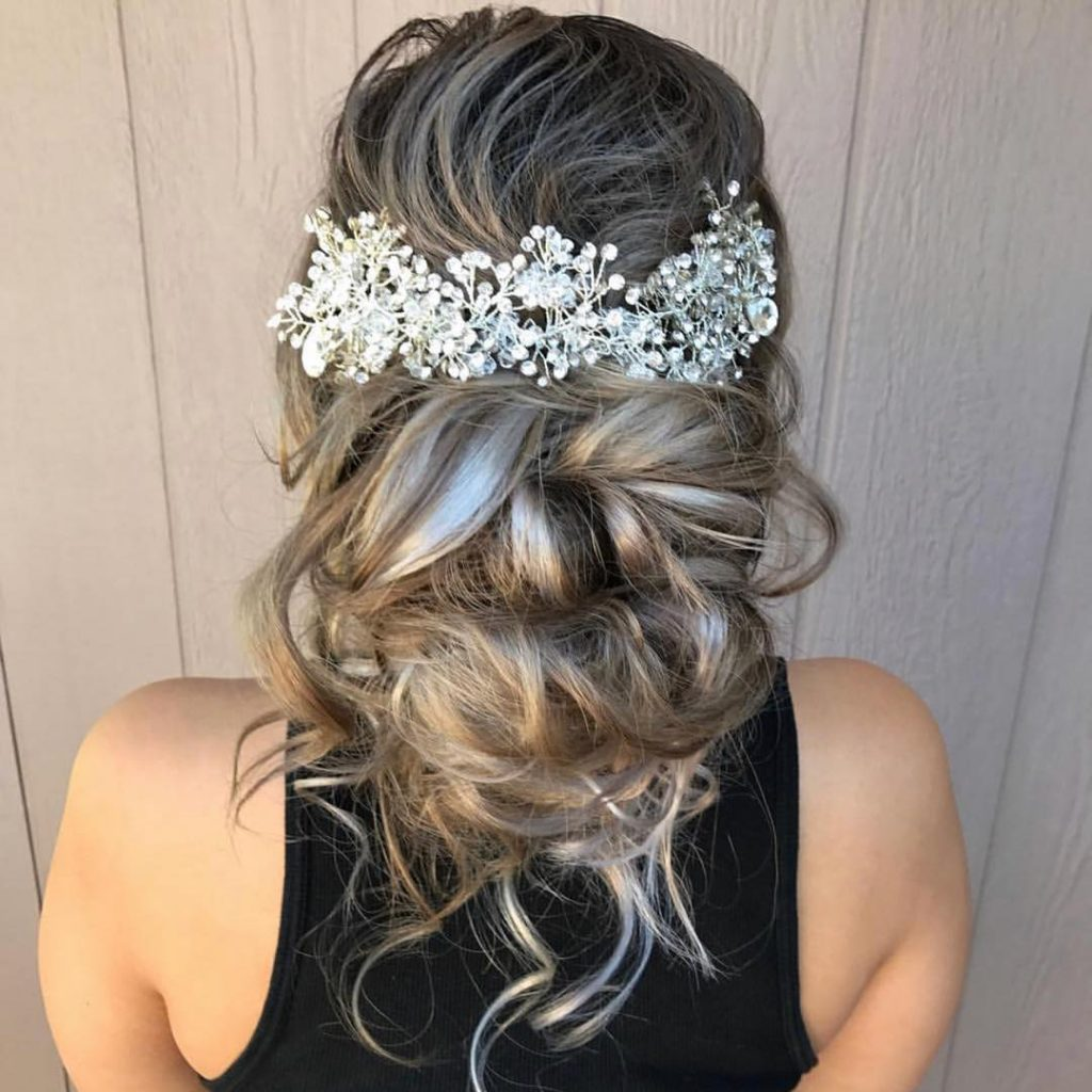 Prom Up-Do with Messy Strands for Long Blonde Hair