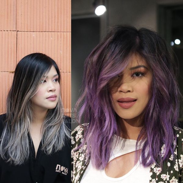 Purple Balayage Wavy Long Bob with Feathered Bangs