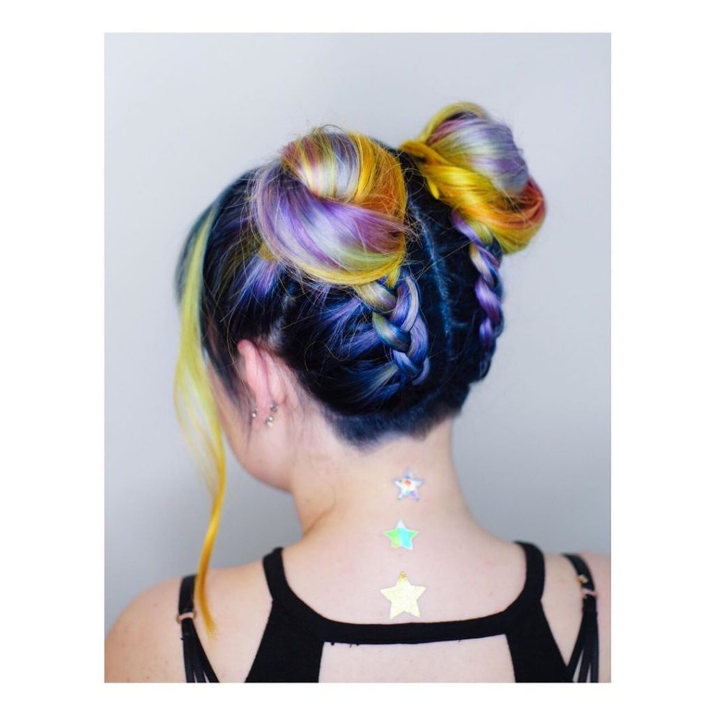 Rainbow Colored Spacebuns with braided back