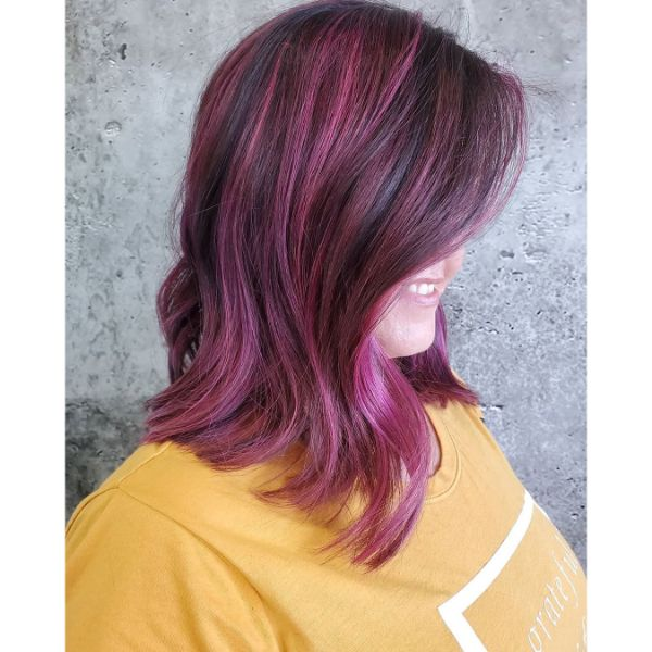 Raspberry and Lilac Balayage Long Wavy Bob Haircut