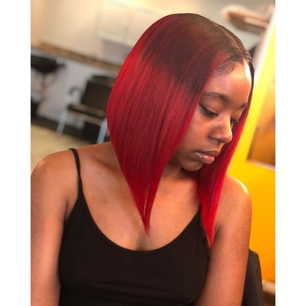 Red Colored Straight Long Bob Hairstyle