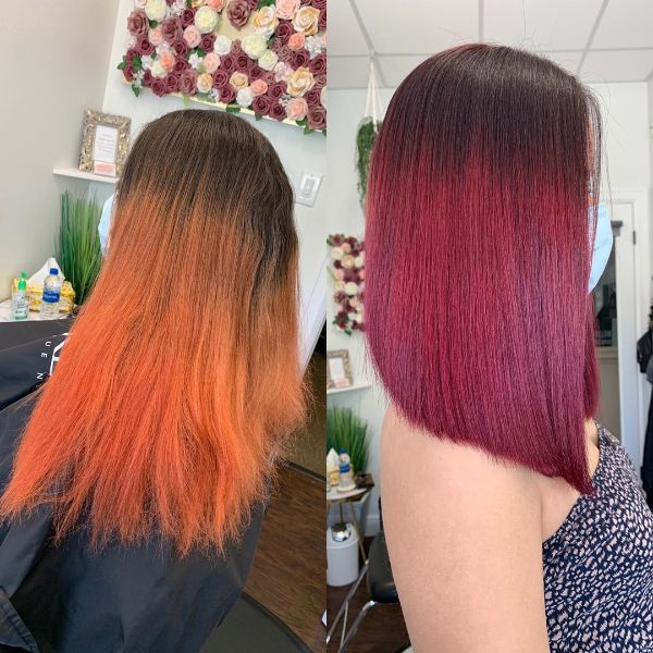Red Hair Straight Long Bob Hairstyle