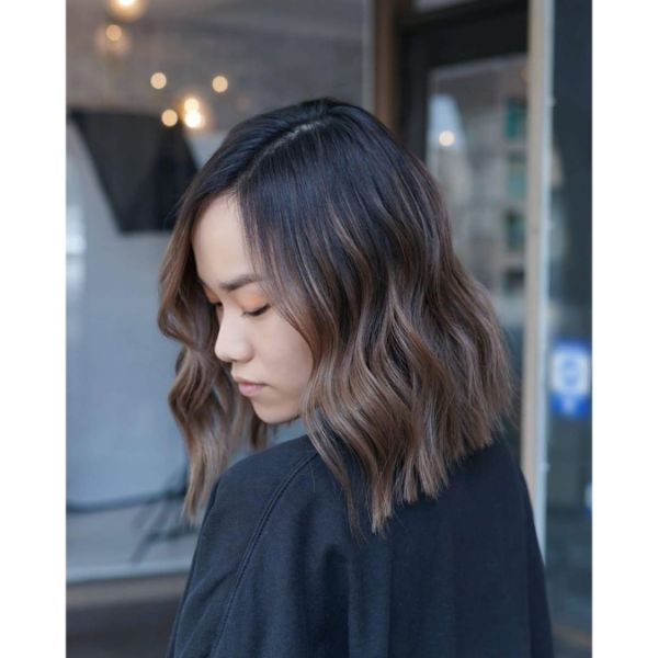 Side Parted Brown Balayage for Wavy Long Bob Haircut