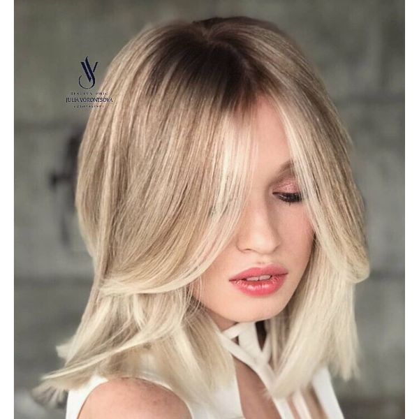 Silky Blonde Long Bob with Parted Bangs Haircut