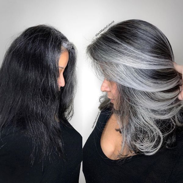 Silver Colored Layers for Straight Dark Hair