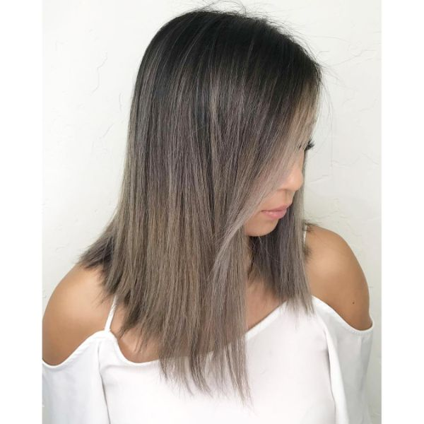 Silver Gray Balayage Lob with Subtle Side Bangs Hairstyle
