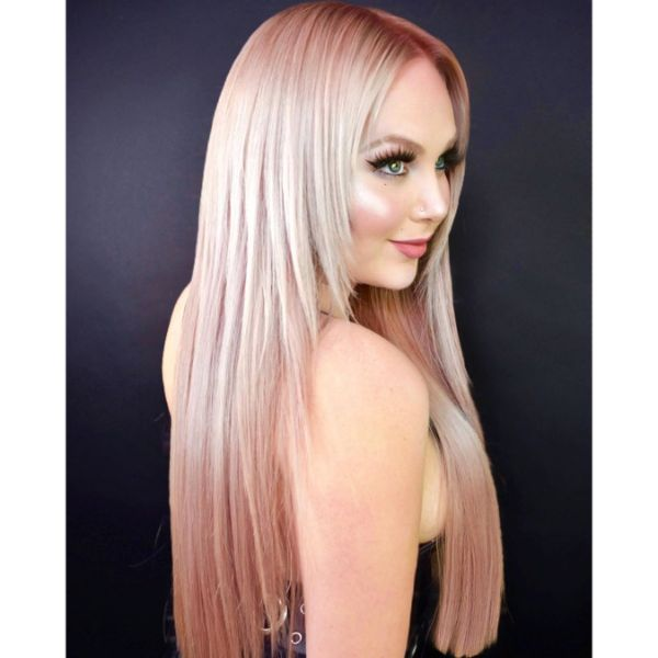 Stick Straight Layers Hairstyle for Rose Pink Hair