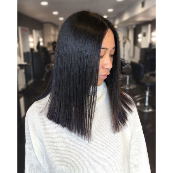 Stick-straight Long Bob Haircut