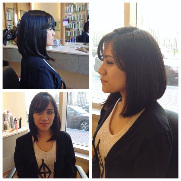 Straight A-line Lob with Straight Cut Bangs