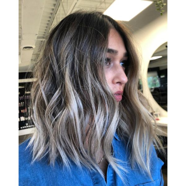 Textured Blonde Balayage Long Bob Hairstyle