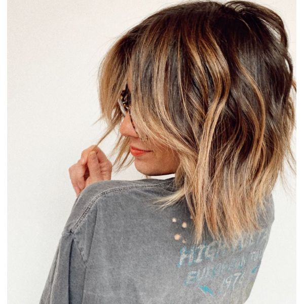 Textured Ombre Long Bob Haircut with Side Swept Bangs