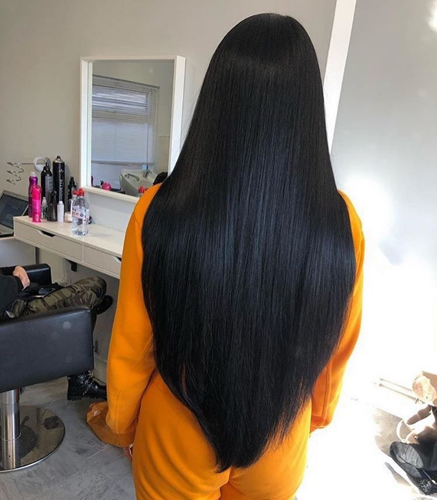V-shape straight long hair