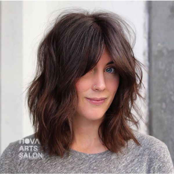 Voluminous Messy Long Bob with Front Bangs