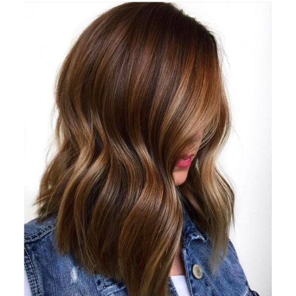 Walnut Brown Balayage for Long Bob Cut Wavy Hairstyle