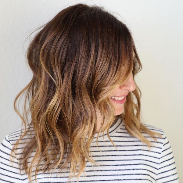 Wavy Brown Balayage for Long Bob Haircut with Long Bangs