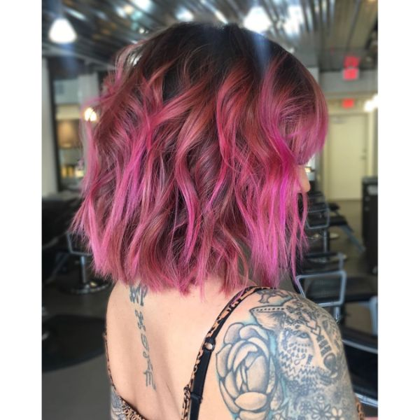 Wavy Lavender Pink Balayage for Long Bob Haircut with Straight Bangs