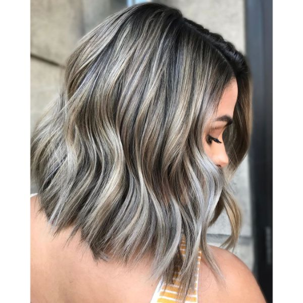 Wavy and Smokey Ombre for Long Bob Haircut