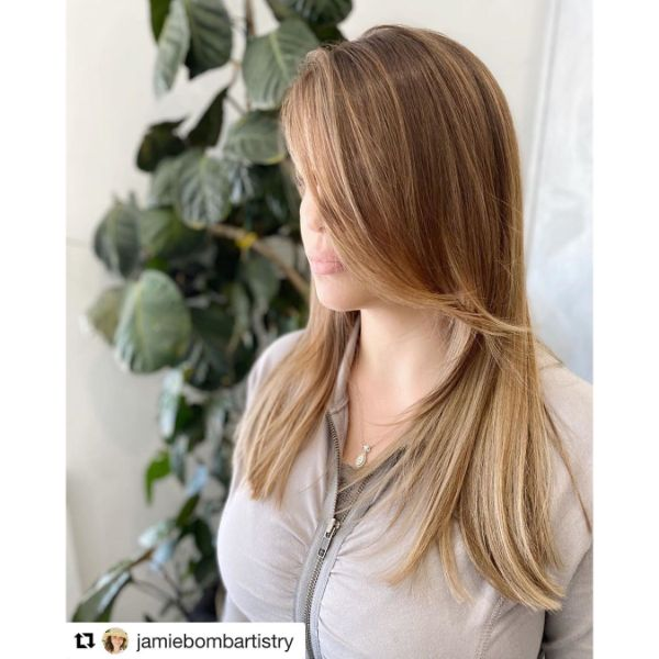 Feathered Layers for  Straight Long Hair with Long Bangs