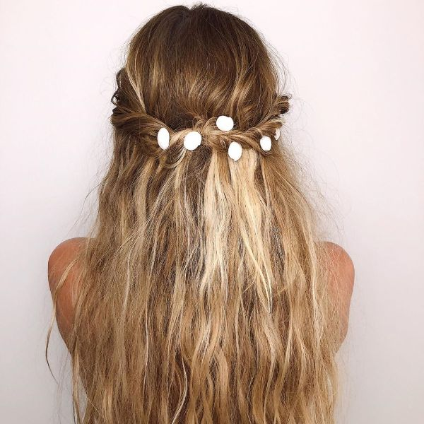 Beach-style Braid with Free Falling Hair and Shell Accessories