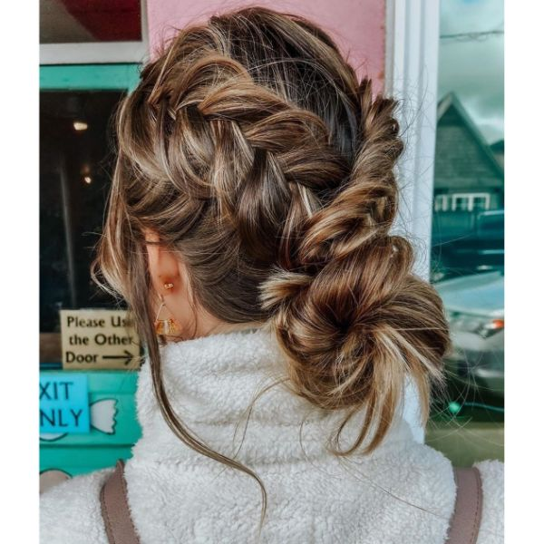Boho Braids with Messy Bun