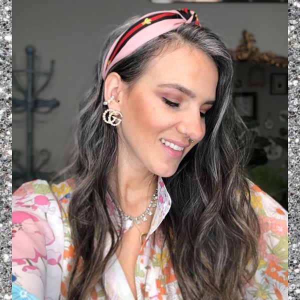 Boho-Chic Silver Highlighted Wavy Long Hairstyle with Headband