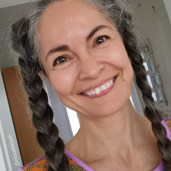 Braided Pigtails Long Hairstyle for Older Women