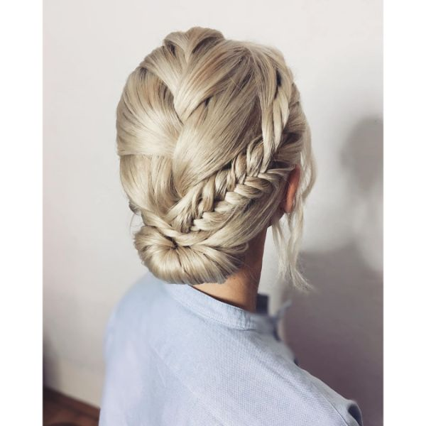 Bridal Braided Hairstyle with Low Bun