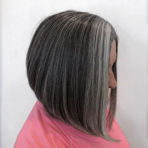 Brunette Long Bob with Silver Highlights Long Hairstyle for Older Women