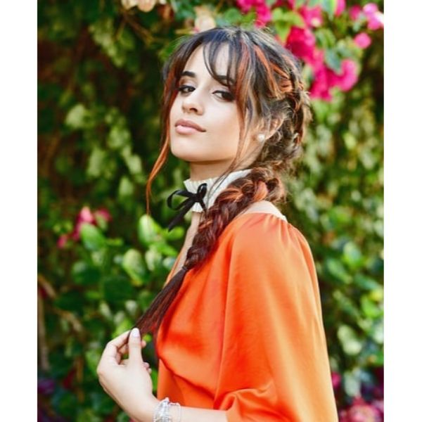 Camilla Cabello's Pigtail Braids for Two Colored Hair with Straight Bangs