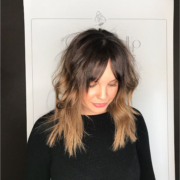 Chunky Long Layers for Ombre Hairstyle with Face Framing Bangs
