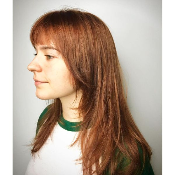 Cinnamon Red Long Layered Hairstyle with Straight Bangs