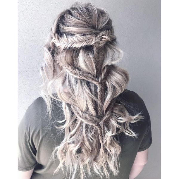 Coachella Style Multiple Fishtail Braids for Ashy Blonde Hair